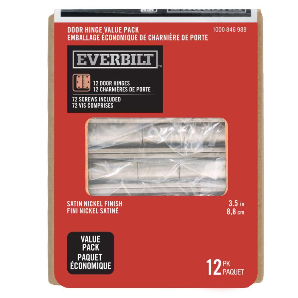 3.5-inch Satin Nickel Door Hinge (12 Pack)