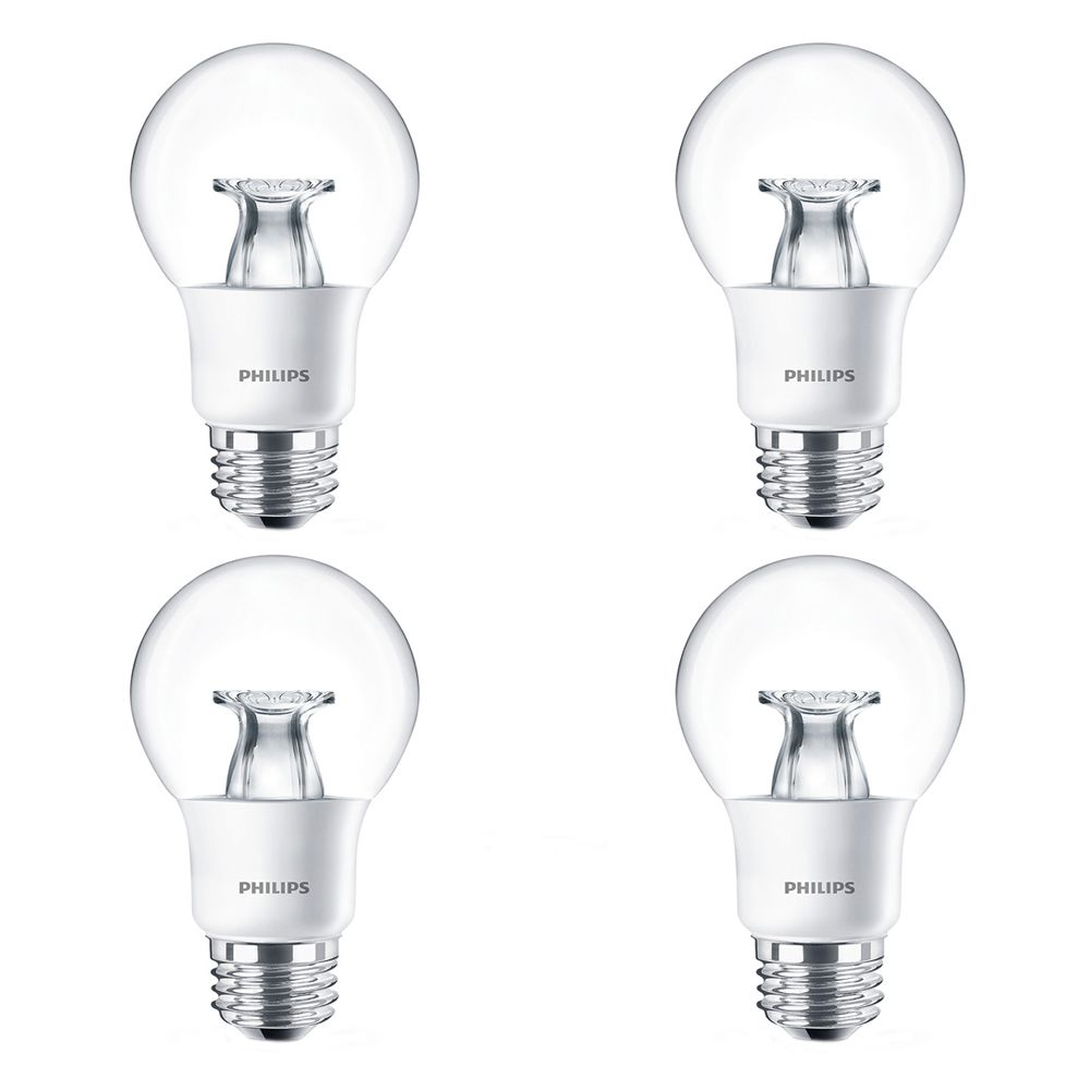 LED 40W A19 Clear Soft White WarmGlow (2700K - 2200K) - Case Of 4 Bulbs