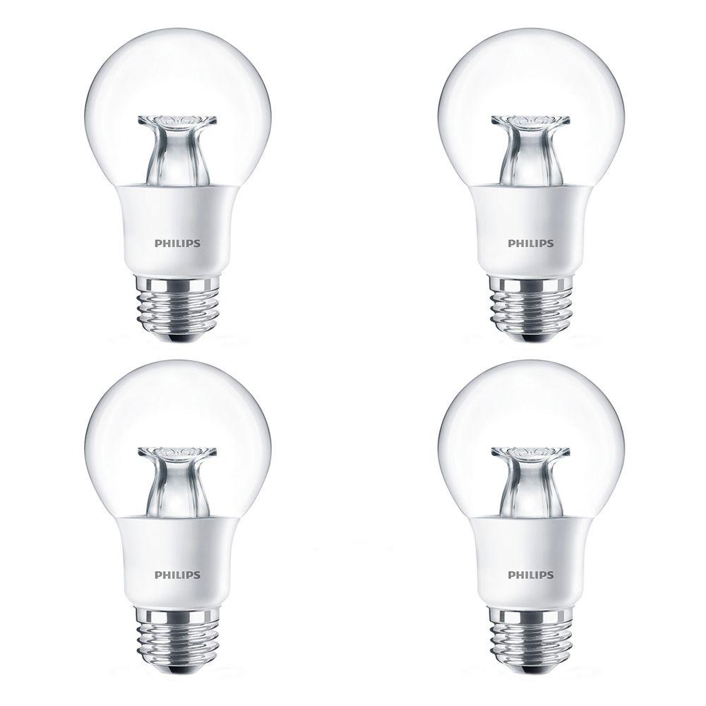 Lampe de plafond et luminaires décoratifs A19 DEL 40 W  À culot moyen - Cas de 4 Ampoules
