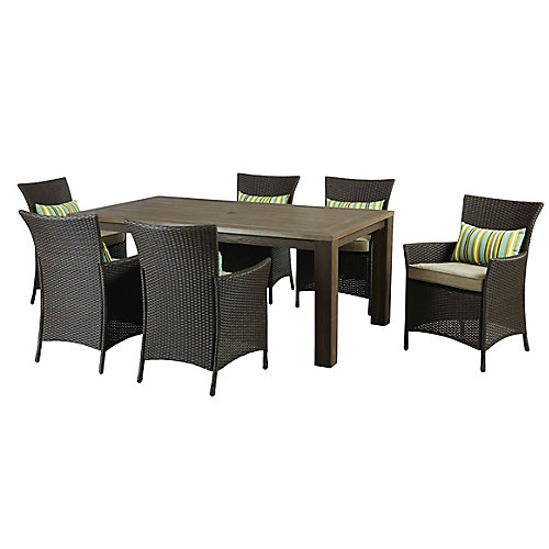 Tacana 7-Piece Wicker Outdoor Patio Dining Set with Beige Cushions