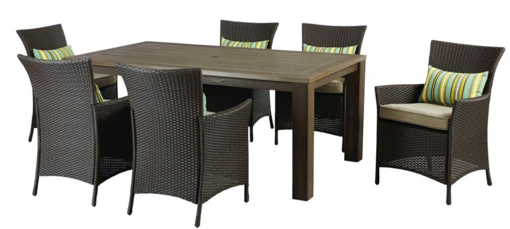 Hampton Bay Tacana 7-Piece Wicker Outdoor Patio Dining Set with Beige Cushions