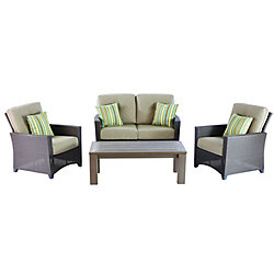 Tacana 4-Piece Wicker Outdoor Patio Deep Seating Set with Beige Cushions