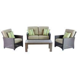 Hampton Bay Tacana 4-Piece Wicker Outdoor Patio Deep Seating Set with Beige Cushions