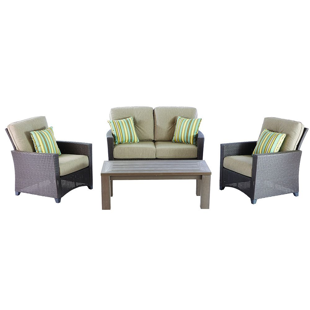 Hampton Bay Tacana 4-Piece Wicker Outdoor Patio Deep Seating Set with Beige Cushions