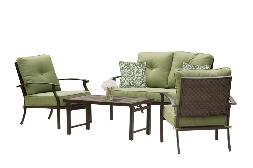 4-Piece South Common Steel/Aluminum Woven Seating Set