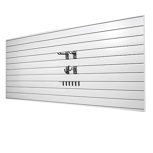 32 sq. ft. Wall Panels with Mini Hook Combo Kit in White (20-Piece)