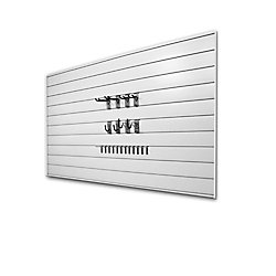 Basic 32 sq. ft. Garage Wall Storage System with 20 Hooks in White