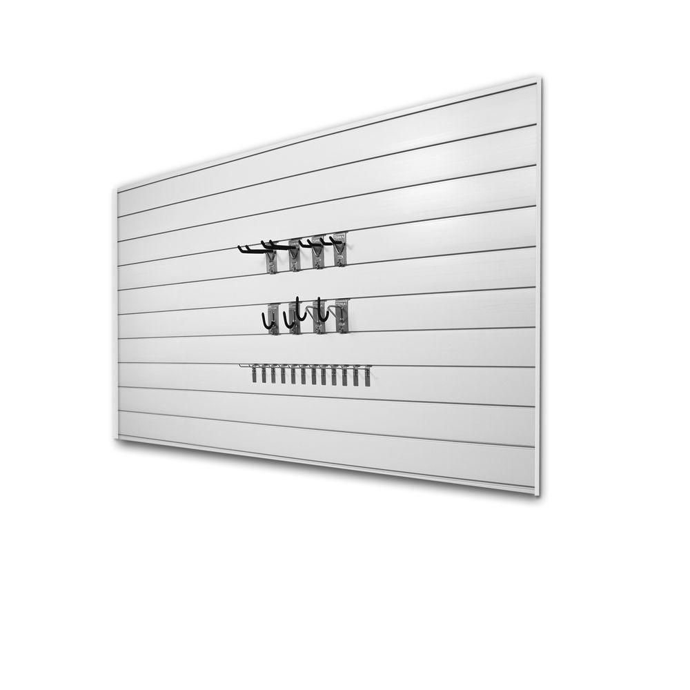 Proslat Basic 32 sq. ft. Garage Wall Storage System with 20 Hooks in White
