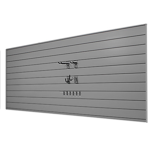 Starter 32 sq. ft. Garage Wall Storage System with 10 Hooks in Light Grey