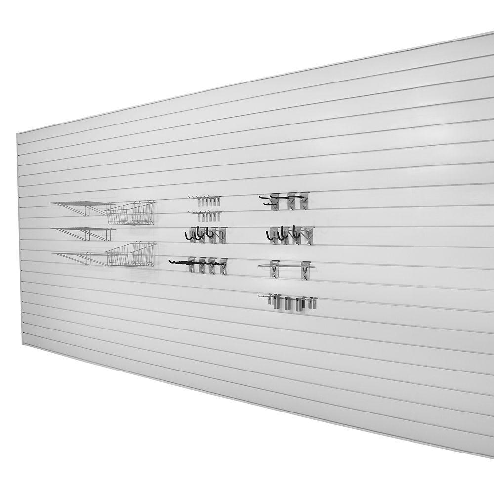 Slatwall Garage Wall Bundle - 192 sqFeet - 38 hooks - White