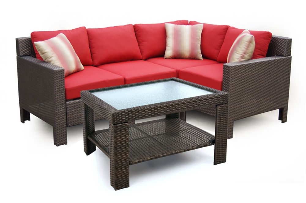 Beverly 5-Piece Patio Sectional Set with Red Cushions