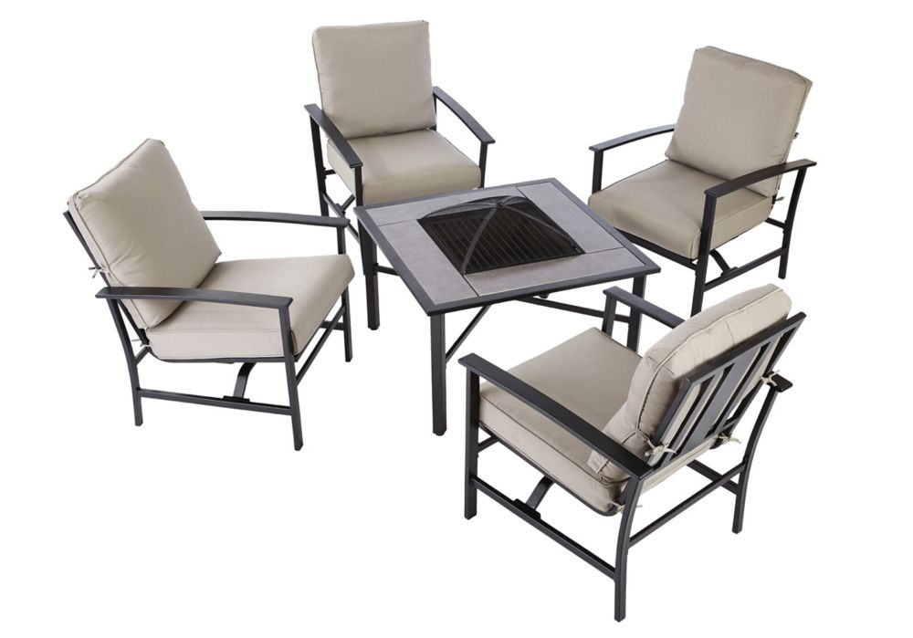 Hampton Bay 5 Piece Grand Parkway Patio Fire Pit Set The Home Depot Canada