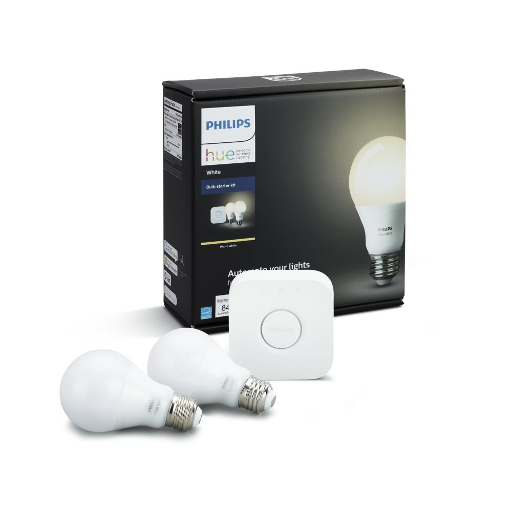 Philips Hue White A19 Starter Kit The Home Depot Canada Fluorescent Lamp Lights