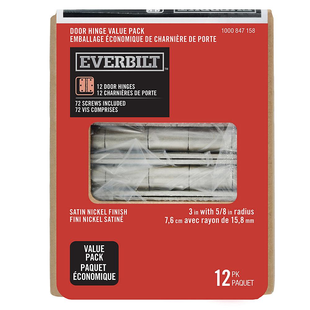 3-inch Satin Nickel 5/8rd Door Hinge (12-Pack)