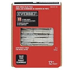 3-inch Satin Nickel Door Hinge (12 Pack)