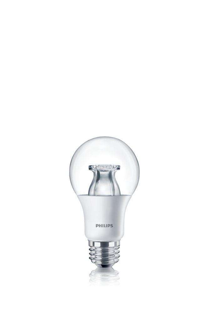 Lampe de menage décoratifs A19 DEL 60 W  À culot moyen. Ampoule claire.