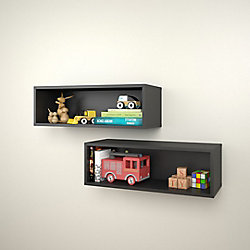 Nexera Avenue 27.75-inch x 9.5-inch x 9-inch Rectangular Floating Wall Shelves in Black (2-Pack)