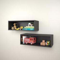 Nexera Avenue 27.75-inch x 9.5-inch x 9-inch Rectangular Floating Wall Shelves in Black (2-Pack)