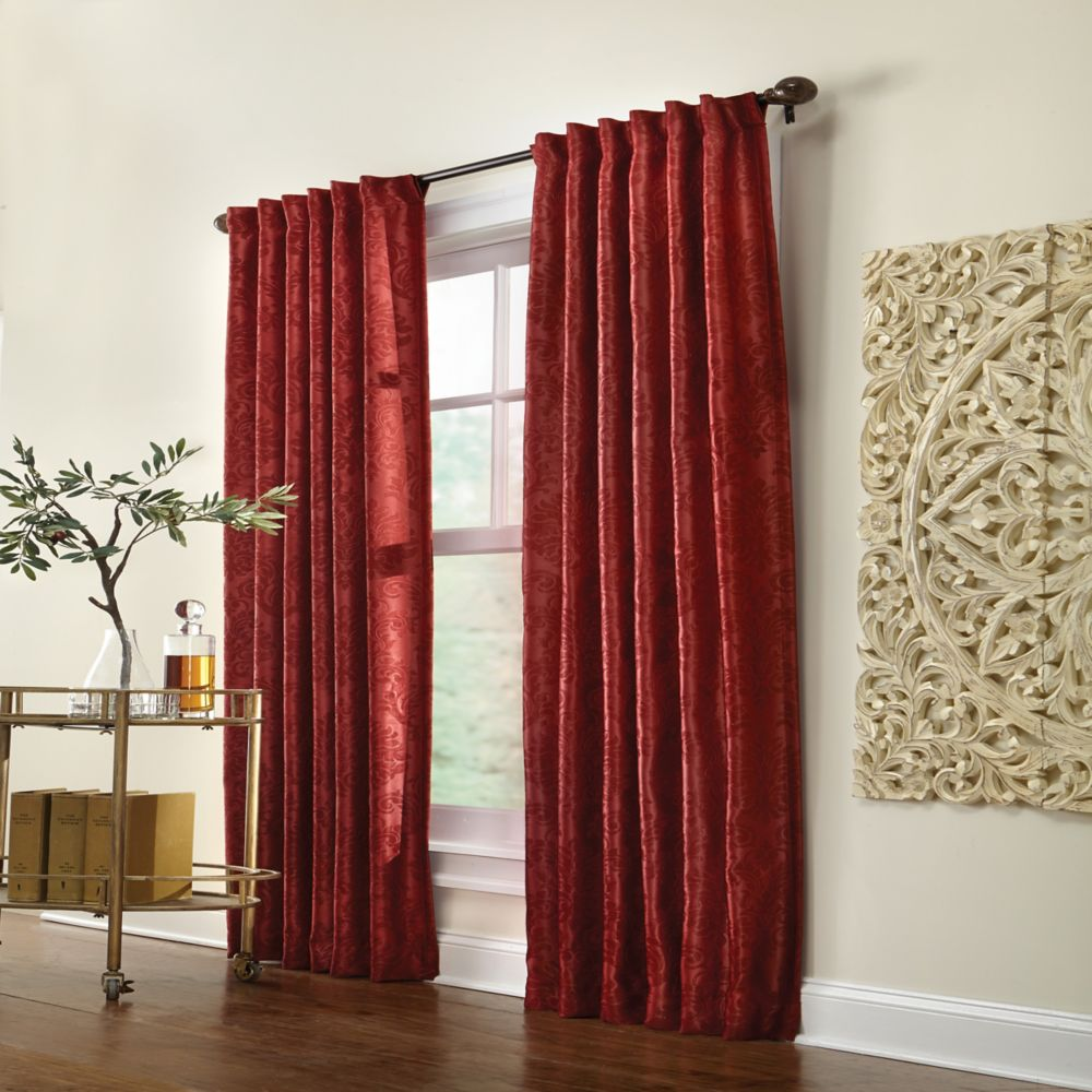Belgique Blackout  Back Tab Curtain 50 inches width X 84 inches length, Burgundy