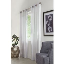 HDC Belvedere Light Filtering Pair Grommet Curtains, 76 inches combined width X 95 inches length, Grey