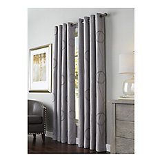 BROOKE PRINTED, Grommet, Grey, 54 x 95