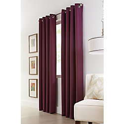 Home Decorators Collection Aubergine Polyester Check Woven Blackout Curtain - 54-inch x 108-inch with Grommets in Black