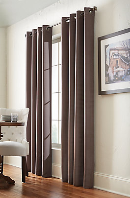 Home Decorators Collection Brown Polyester Check Woven Blackout Curtain