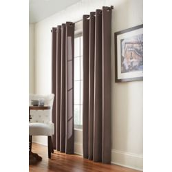 Home Decorators Collection Brown Polyester Check Woven Blackout Curtain - 54-inch x 108-inch with Grommets in Black