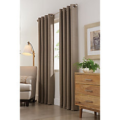 Mushroom Polyester Faux Suede Blackout Curtain - 54-inch x 108-inch with Grommets in Brushed Silver