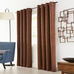 Home Decorators Collection Brown Polyester Jacquard Blackout Curtain - 50-inch x 95-inch with Grommets in Oil-Rubbed Bronze
