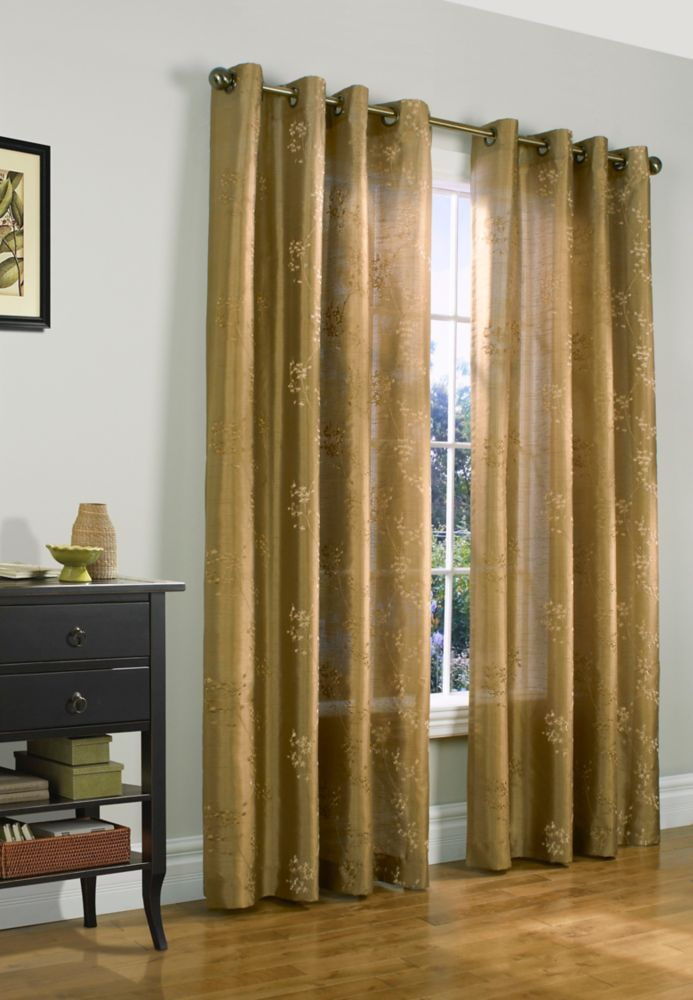 "Josephina Embroidered Faux Silk, Taupe, 52"" x 95"""