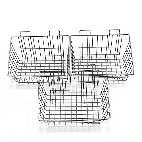 Wall Storage Solutions - Baskets, 15 Inch x 11 Inch x 8 Inch, Steel, 3 Pack, Silver