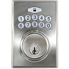 Square Satin Nickel Single Cylinder Keyless Entry Electronic Keypad Deadbolt