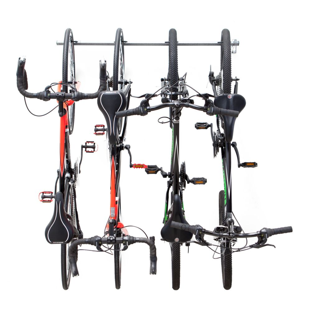 Monkey bars bike storage rack holds 4 bikes the home for Rack pour garage