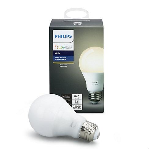 Systéme déclairage sans fil personnel Philips Hue - DEL A19 simple (Blanche) - ENERGY STAR®