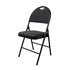 Folding Chair with Fabric Cushion in Black