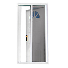 Blanc 97.5 pouce Retractable Screen Door Fits Portes 95 pouce to 96.5 pouce