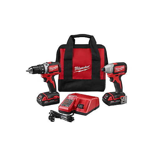 M18 18-Volt Lithium-Ion Brushless Cordless Compact Drill/Impact Combo Kit (2-Tool) W/(2) 2.0Ah Batteries, Charger, Bag