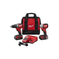 Milwaukee Tool M18 18-Volt Lithium-Ion Brushless Cordless Compact Drill/Impact Combo Kit (2-Tool) W/(2) 2.0Ah Batteries, Charger, Bag