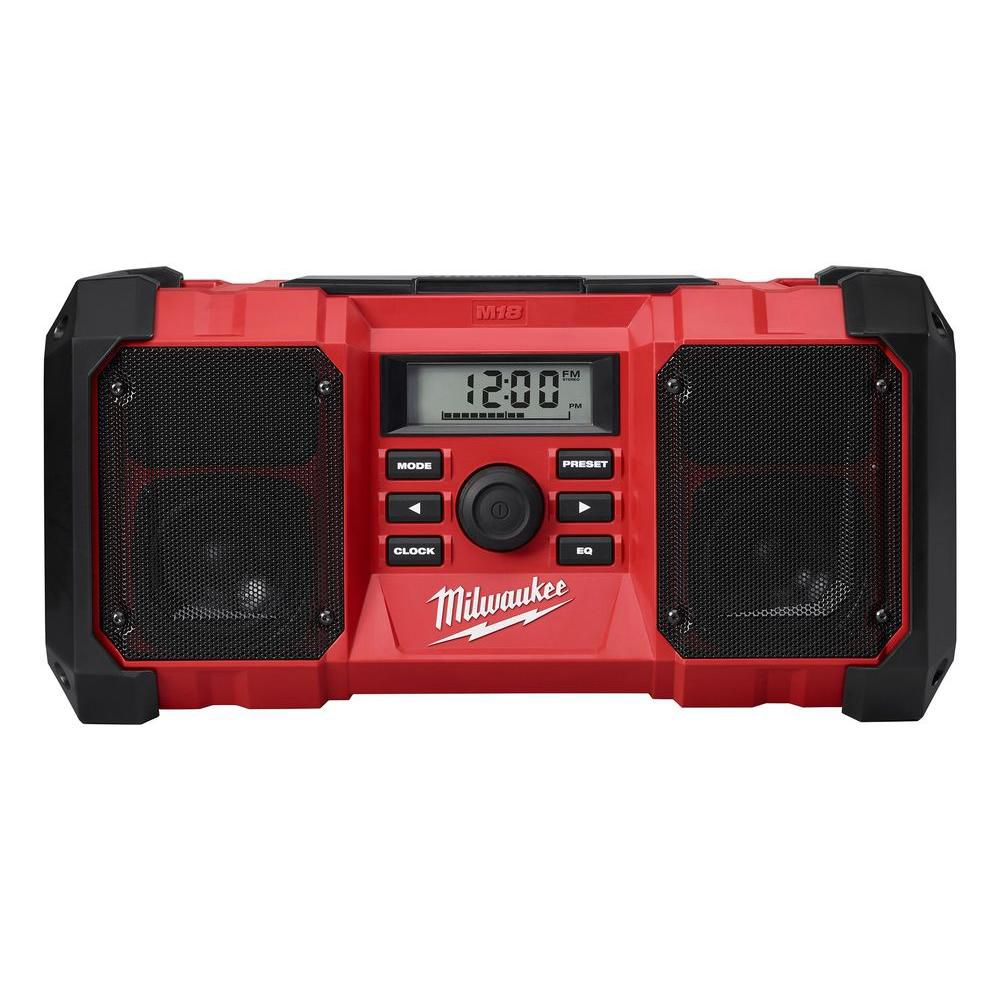 Milwaukee Tool M18 Lithium-Ion Cordless Jobsite Radio with Durable Body and 3.5mm Auxiliary Jack (Tool Only)