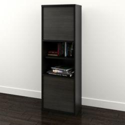 Nexera 19-inch x 56.375-inch x 12-inch 6-Shelf Manufactured Wood Cubed Bookcase in Black