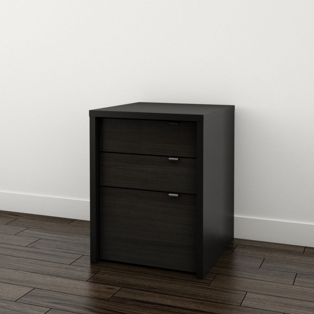Nexera Sereni-T 19-inch x 24.875-inch x 19.875-inch 3-Drawer Manufactured Wood Filing Cabinet in Black