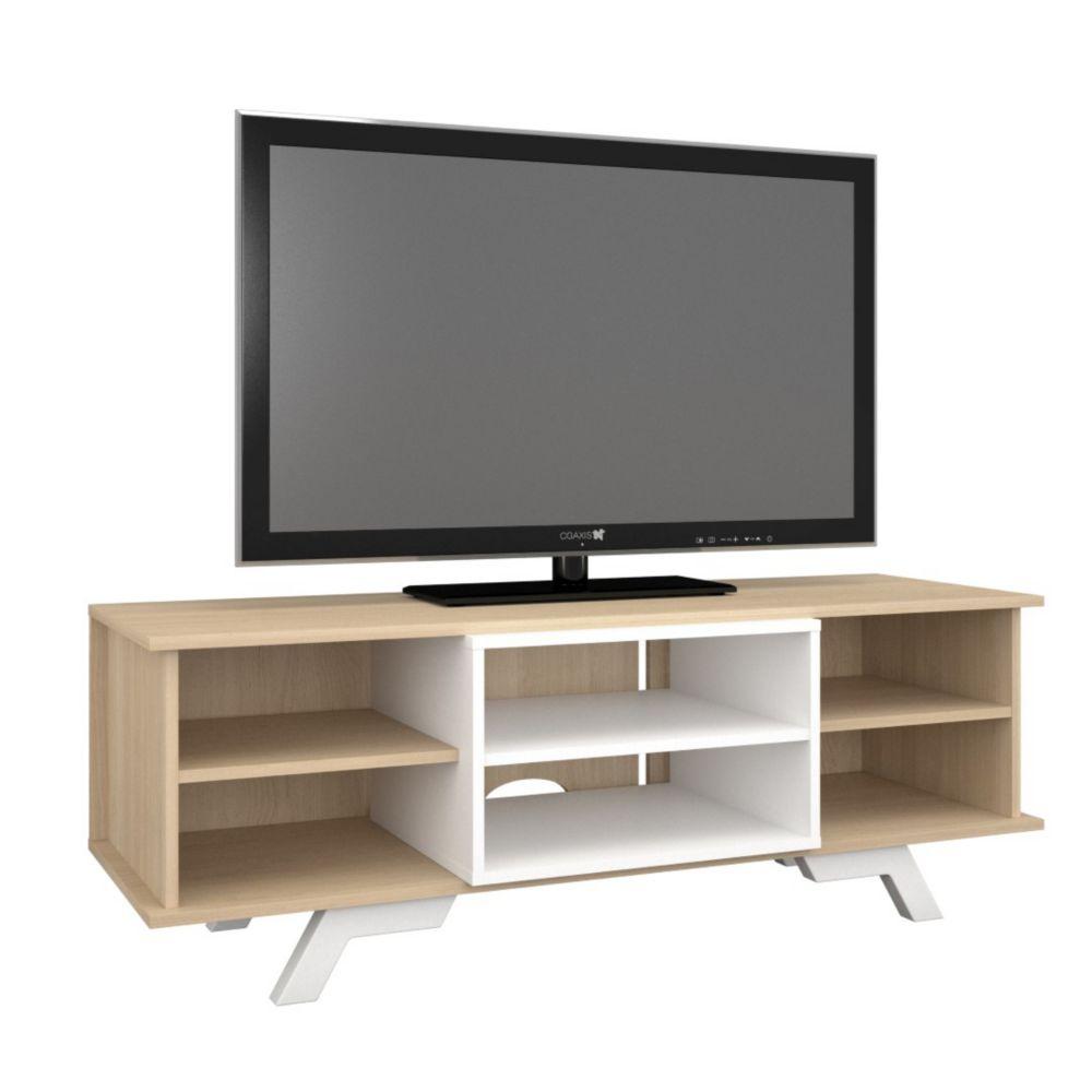 Nexera 104039 Stiletto TV Stand, 54-inch, Natural Maple & White