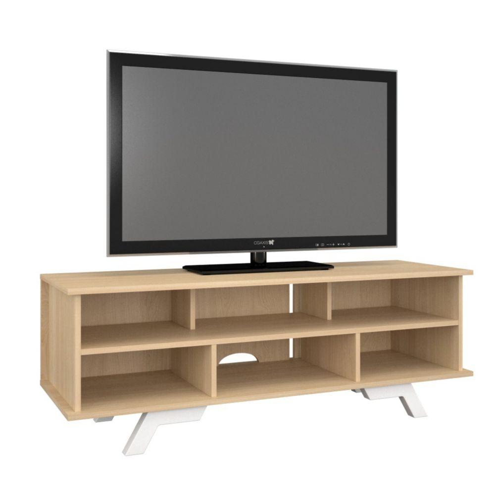 Nexera 104339 Stiletto TV stand, 54-inch, Natural Maple & White