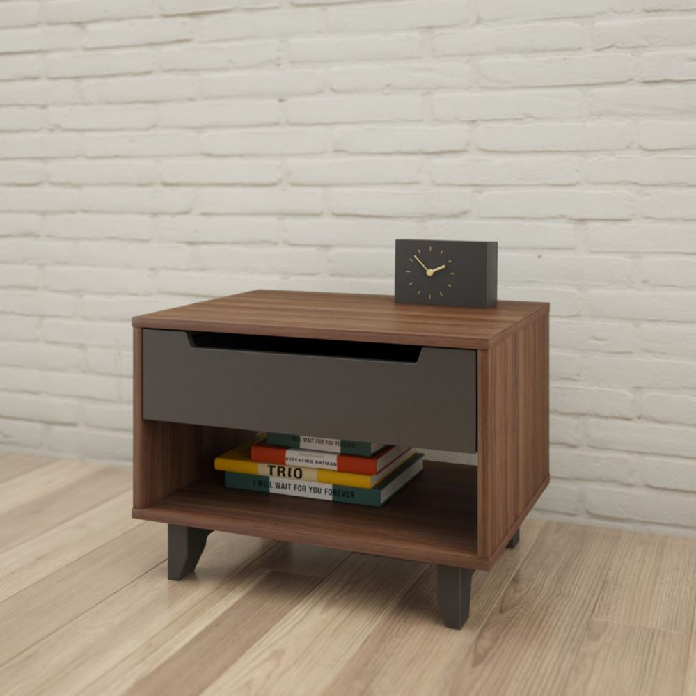 23.625-inch x 17.25-inch x 18-inch 1-Drawer Nightstand in Walnut