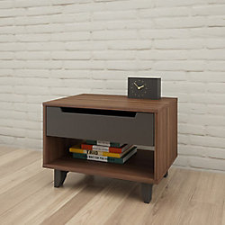 Nexera Alibi 23.625-inch x 17.25-inch x 18-inch 1-Drawer Nightstand in Walnut