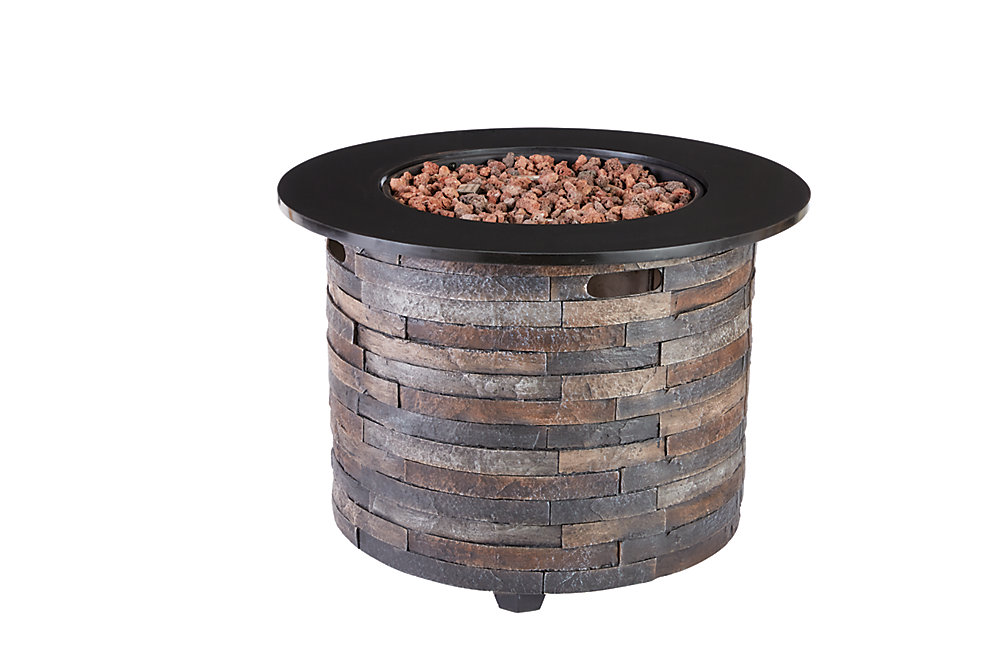 Hampton Bay Round Outdoor Fire Pit Table   The Home Depot ...