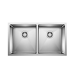 Blanco Quatrus 32-inch Double-Basin Kitchen Sink in Stainless Steel