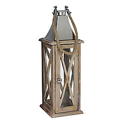 Hampton Bay Wooden Lantern with Stainless Steel Top