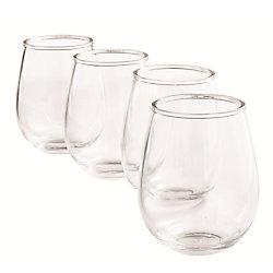 THD Set of 4 Plastic Stemless Wine Glasses